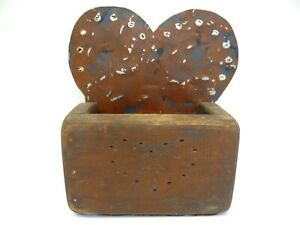 Tin Wood Painted Red Blue Hanging Wall Pocket Box Heart Design Home Decor Used
