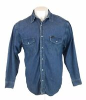 Vintage Wrangler Western Denim Shirt Blue Marble Snaps Large Mens