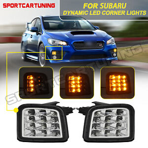 For 15-up Subaru WRX STI Sequential LED Front Turn Signal Lights Lamp Clear Lens