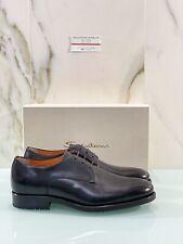 Derby Black Leather Santoni Man 43 Luxury Men Shoe Black