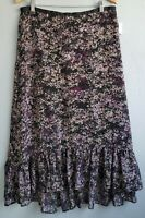 Elle Floral Long Ruffled Hem Skirt Womens 10 Purple Chiffon Hi Low Feminine New