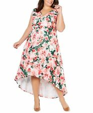 Calvin Klein Womens Dress Pink Size 22W Plus Floral High-Low A-Line $199 149