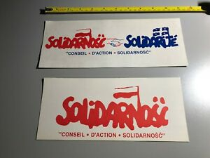 2  STICKERS Original Mouvement ouvrier SOLIDARNOSC LECH WALESA