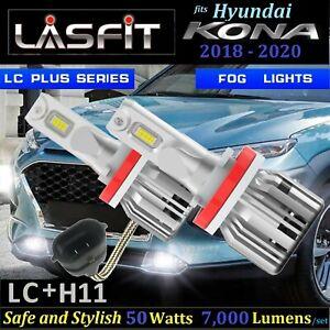LASFIT Plus 50W 7000L H11 LED Fog Light Bulbs fit Hyundai Kona 2017-2020 6000K