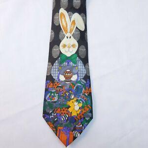 Fratello Easter Bunny Tie Novelty Teddy Bear & Eggs Hand Made