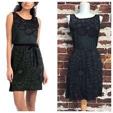 Desigual XS Green Artsy Circle Mesh Geometric Jersey Knit Mini Dress Tunic