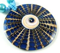 Natural Blue Cone Shell Shiva Eye Pendant Beads Necklace Women Jewelry DA023