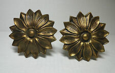 Solid Brass Mid Century Drapery Hook Pair Curtain Tie Back Fancy Post Spain