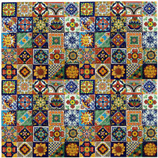 "SET 100 MEXICAN TILES TALAVERA 2x2""  FOLK ART ASSORTED"