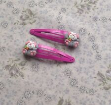 hair clips Easter Bunny Rabbits So Cute Hademade Pink And Silver Fimo gift ideas
