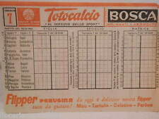 Vecchia schedina TOTOCALCIO Concorso 7 10 ottobre 1965 Flipper Perugina Bosca di