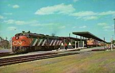 Ottawa Union Station, CN Super Continental & CP Canadian Railroad Train Postcard