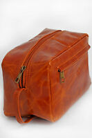 MENS LARGE ANTIQUE STYLE LEATHER TOILETRY ACCESSORIES TRAVEL WASH BAG BROWN NEW