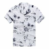 Men Hawaiian Shirt Cruise Tropical Luau Beach Aloha Party White Map Palm Island