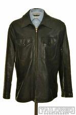 RALPH LAUREN PURPLE LABEL Solid Black Leather Mens Bomber Jacket Coat - LARGE