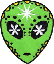 110057 Green Alien Sugar Skull Day Dead Dia Muertos Outer Space Iron On Patch