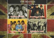 Los Beatles John Lennon Paul Mccartney Tchad 2015 estampillada sin montar o nunca montada SELLO Sheetlet