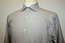 JACK SPADE Light Brown Check Slim Fit 100% Cotton Dress Shirt Sz 16 - 34/35