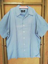 M&S Pure Silk Mens Shirt Blue Size 38 40 Short Sleeves