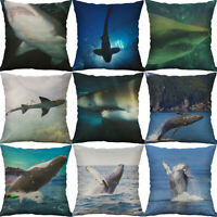 18'' Shark Print Cotton Linen Sofa Waist Cushion Cover Pillow Case Home Decor