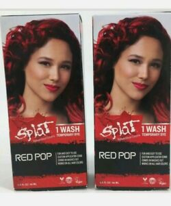 Splat Rebellious Color 1 Wash Washables Hair Color RED POP Temporary Dye 2 Pack