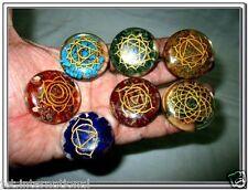 New Chakra Engraved Orgone Round Set Reiki X-mas Pouch Crystal Gemstones