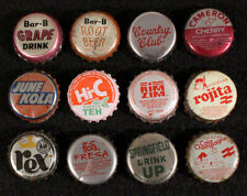 12 PLASTIC LINED SODA BOTTLE CAPS CROWNS BAR-B CAMERON JUNE KOLA REX ROJITA HI-C