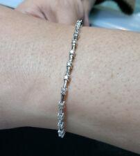 Diamond Tennis Bracelet -  14k White Gold - 1.00cttw - ROUND Diamonds - dainty