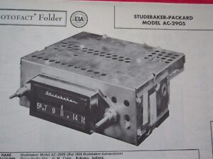 1958 STUDEBAKER AC-2905 RADIO PHOTOFACT