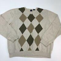 Arrow 1851 V Neck Sweater Men's 2XL XXL Long Sleeve Tan Olive Argyle Chunky Knit