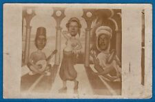 rppc arcade photo montage fake oriental musicians & belly dancer France ca 1920