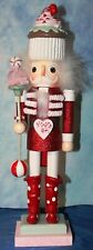 """Christmas Confection Red Wooden Nutcracker 18"""" Candy Cane, Peppermints & Cupcake"""