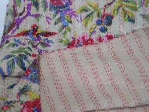 Indian Handblock Bird Kantha Quilt Indian Cotton Bedspread Queen Size Bohemian