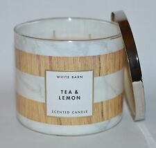 NEW BATH & BODY WORKS TEA & LEMON SCENTED CANDLE 3 WICK 14.5 OZ LARGE WHITE BARN