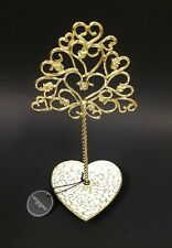 NEW CYNTHIA ROWLEY GOLD,WHITE METAL HEART PLATE,TREE STAND JEWELRY HOLDER STAND