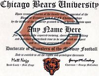 BEARS ~ CHICAGO BEARS  MAN CAVE ~ CERTIFICATE ~ DIPLOMA GREAT   GIFT