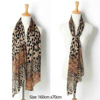 Women Ladies Leopard Print Soft Chiffon Shawl Neck Stole Wrap Scarves Long Q6A6