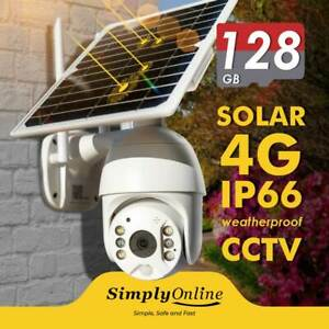 4G Solar Powered - Cable Free 24/7 Security PTZ camera + 128 GB SD CARD