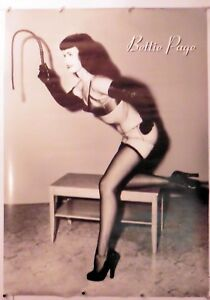 """BETTIE PAGE - WITH WHIP - pinup poster 24"""" X 33.75"""" NOS (b160)"""