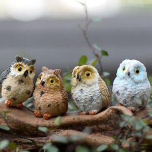 Cute Owls Animal Resin Craft Bonsai Miniatures Figurine Terrarium Decor 2 PCS