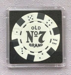 JACK DANIEL'S OLD No.7 BRAND CASINO/POKER CHIP CARD GUARD/PROTECTOR - White (b)