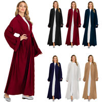 Dubai Abaya Open Front Kaftan Muslim Lady Kimono Jilbab Robe Maxi Dress Cardigan