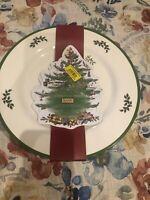Spode CHRISTMAS TREE (GREEN TRIM) Melamine Dinner Plates Set Of 4