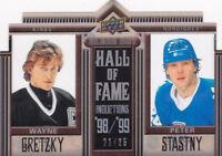 10-11 Upper Deck Wayne Gretzky Peter Stastny /25 Clear Cut Hall Of Fame 2010