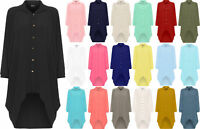 Womens summer  Button Hi Lo Long Sleeve Collared Chiffon Shirt Dress Top 10-26