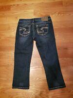 Silver Aiko Mid Rise Capri Womens Dark Wash Distress Blue Jeans Size 25