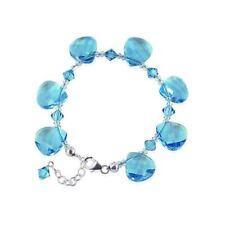 Handmade Bracelet 7 to 8.5 inch Sterling Silver Swarovski Elements Blue Crystal