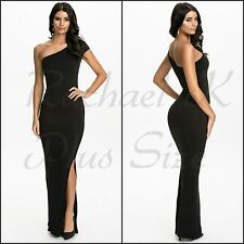 Evening Formal Women's Plus Size 8-18 Long One Shoulder Black Party Gown Dress