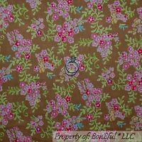 BonEful Fabric FQ Cotton Quilt Brown Pink Blue Green Flower Leaf White Small Dot