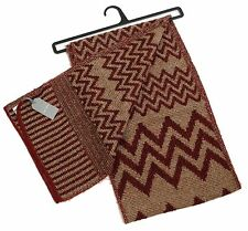 MENS PREMIUM RED AND BROWN ZIG ZAG COSY SCARF